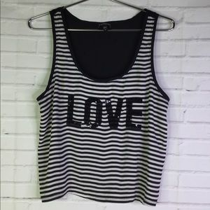 Express Womens L Black White Striped LOVE Tank Top